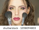 beauty woman with makeup...   Shutterstock . vector #1058094803