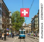 Small photo of Zurich, Switzerland - 20 April, 2016: a tram on Bahnhofstrasse street. Trams make an important contribution to public transport of the city of Zurich since the 1880s.