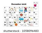 december 2018 monthly calendar... | Shutterstock . vector #1058096483