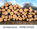 firewood for the winter  stacks ... | Shutterstock . vector #1058114333