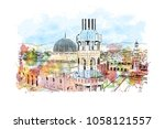 sultan qaboos grand mosque in... | Shutterstock .eps vector #1058121557