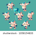 vector set of cartoon spaceman  ... | Shutterstock .eps vector #1058154833