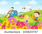 illustration of kids playing at ... | Shutterstock . vector #105824747