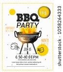 bbq party vector illustration... | Shutterstock .eps vector #1058264333