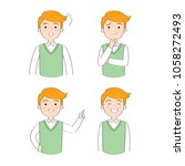 cartoon cute actions man... | Shutterstock .eps vector #1058272493
