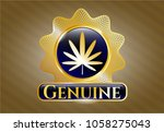 golden emblem with weed leaf... | Shutterstock .eps vector #1058275043