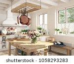 3d rendering. retro kitchen in... | Shutterstock . vector #1058293283