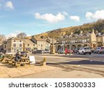 Small photo of SETTLE, UK - MARCH 29 2018: Main square. Settle is a small market town and civil parish in the Craven district of North Yorkshire, England