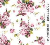 shabby chic vintage roses... | Shutterstock . vector #1058322773