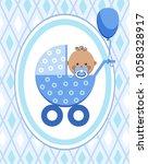 a little boy in a blue stroller.... | Shutterstock .eps vector #1058328917