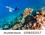 underwater photo of a young man ...   Shutterstock . vector #1058332517