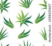 aloe vera seamless pattern... | Shutterstock .eps vector #1058335607