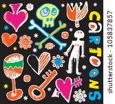 crazy childlike doodles  hand...   Shutterstock .eps vector #105837857