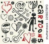 crazy childlike doodles  hand... | Shutterstock .eps vector #105837893