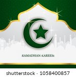 greeting card of holy ramadhan...   Shutterstock .eps vector #1058400857