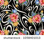 flower pattern with black... | Shutterstock . vector #1058401013