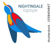 nice logo of a bird. cute... | Shutterstock .eps vector #1058404847