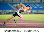 sprinter leaving starting... | Shutterstock . vector #105840977