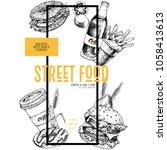 hand drawn fast food banner.... | Shutterstock . vector #1058413613