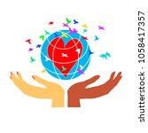 women's hands hold the globe...   Shutterstock .eps vector #1058417357