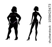 fat woman and slender woman...   Shutterstock .eps vector #1058425673