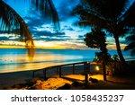 enjoying beautiful and calm red ... | Shutterstock . vector #1058435237
