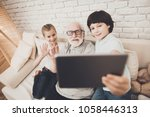 grandfather  grandson and...   Shutterstock . vector #1058446313