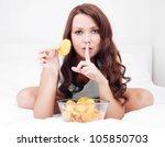 Pretty Woman Eating Potato...