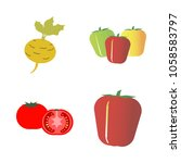 vegetables icon set with 4... | Shutterstock .eps vector #1058583797