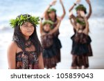 hula girl on the beach with her ...   Shutterstock . vector #105859043