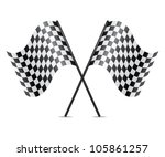 vector symbol of crossed racing flags - stock vector