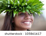 pretty hula girl wearing a...   Shutterstock . vector #105861617