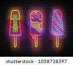 set of glow signboard with... | Shutterstock .eps vector #1058728397