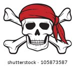 pirate skull, red bandana and bones (pirates symbol, skull and cross bones, skull with crossed bones)