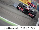 VALENCIA, SPAIN - JUNE 22: Jenson Button in the Formula 1 Grand Prix of Europe, in Valencia Street Circuit, Spain on June 22, 2012 - stock photo
