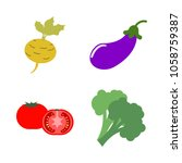 vegetables icon set with 4... | Shutterstock .eps vector #1058759387