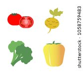 vegetables icon set with 4... | Shutterstock .eps vector #1058759483
