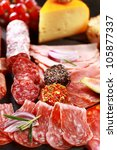 Antipasto catering platter with salami and cheese - stock photo