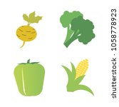vegetables icon set with 4... | Shutterstock .eps vector #1058778923