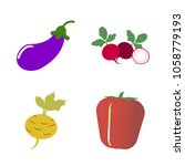 vegetables icon set with 4... | Shutterstock .eps vector #1058779193