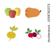 vegetables icon set with 4... | Shutterstock .eps vector #1058782373