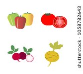 vegetables icon set with 4... | Shutterstock .eps vector #1058782643