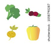 vegetables icon set with 4... | Shutterstock .eps vector #1058790287