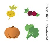 vegetables icon set with 4... | Shutterstock .eps vector #1058790473