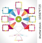Business presentation diagram. Seven fields for information. Multicolored. - stock vector