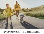 young cheerful boy with... | Shutterstock . vector #1058808383