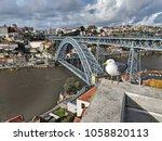seagull with the old town ... | Shutterstock . vector #1058820113