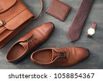 composition with stylish men's  ... | Shutterstock . vector #1058854367