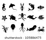 black sea life icons set - stock vector