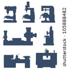 An illustration of set of machine tool icons - stock photo